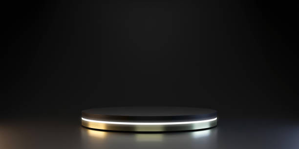 Modern plate pedestal of neon platform display with luxury stand podium on dark room background. Blank Exhibition or empty product shelf. 3D rendering. stock photo