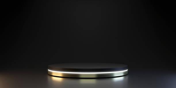 modern plattsockel av neonplattformsdisplay med lyxig stand podium på mörkrum bakgrund. tom utställning eller tom produkthylla. 3d-rendering. - piedestal bildbanksfoton och bilder