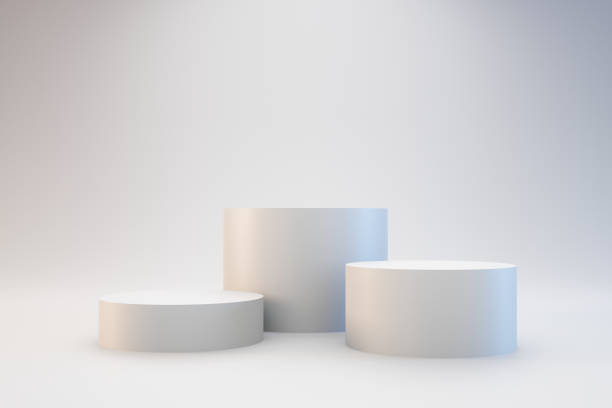 modern podium or pedestal display with platform concept on white background. blank shelf stand for showing product. 3d rendering. - cilindro formas geométricas imagens e fotografias de stock