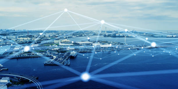 Modern port and ships aerial view and communication network concept. Ship radio. 5G. IoT. stock photo