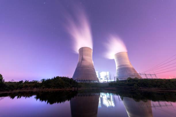 Modern Powerplant producing heat stock photo