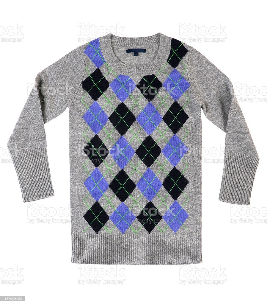 Modern preppy sweater in gray with black and blue royalty-free stock photo