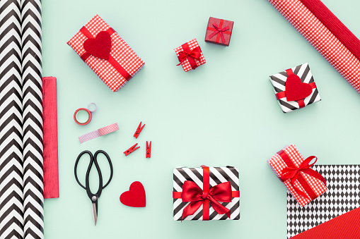 Modern Presents Boxes Laid On Mint Background Flat Lay Stock Photo - Download Image Now