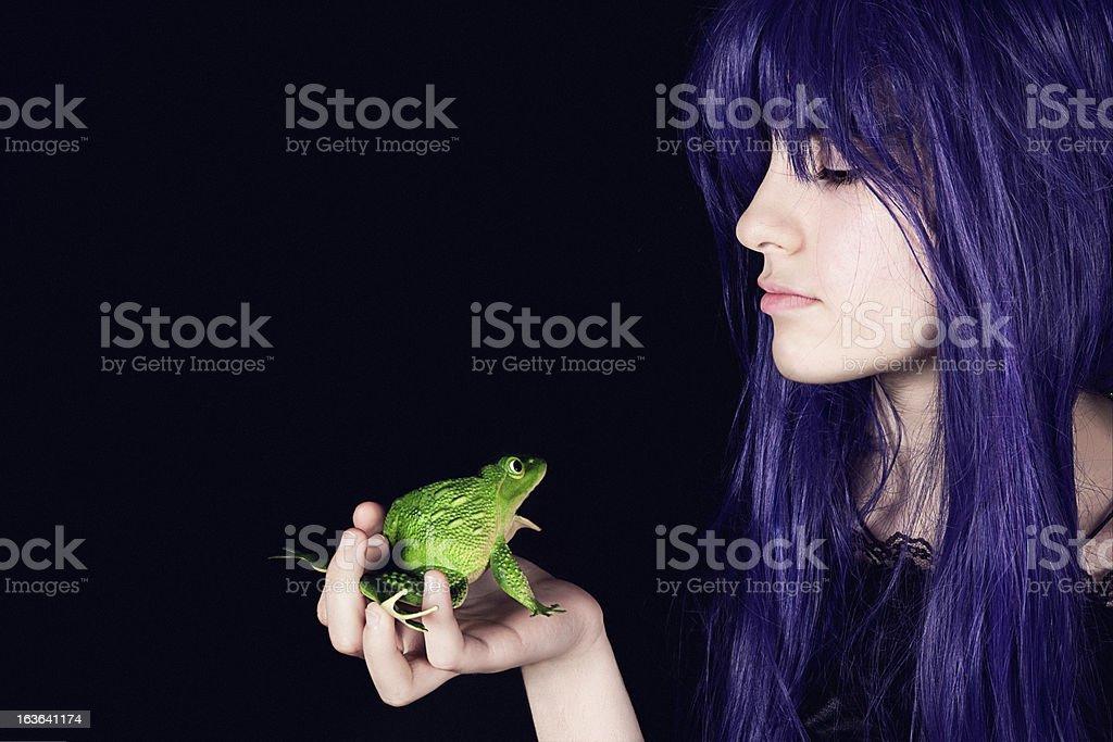 Modern princess and frog stock photo