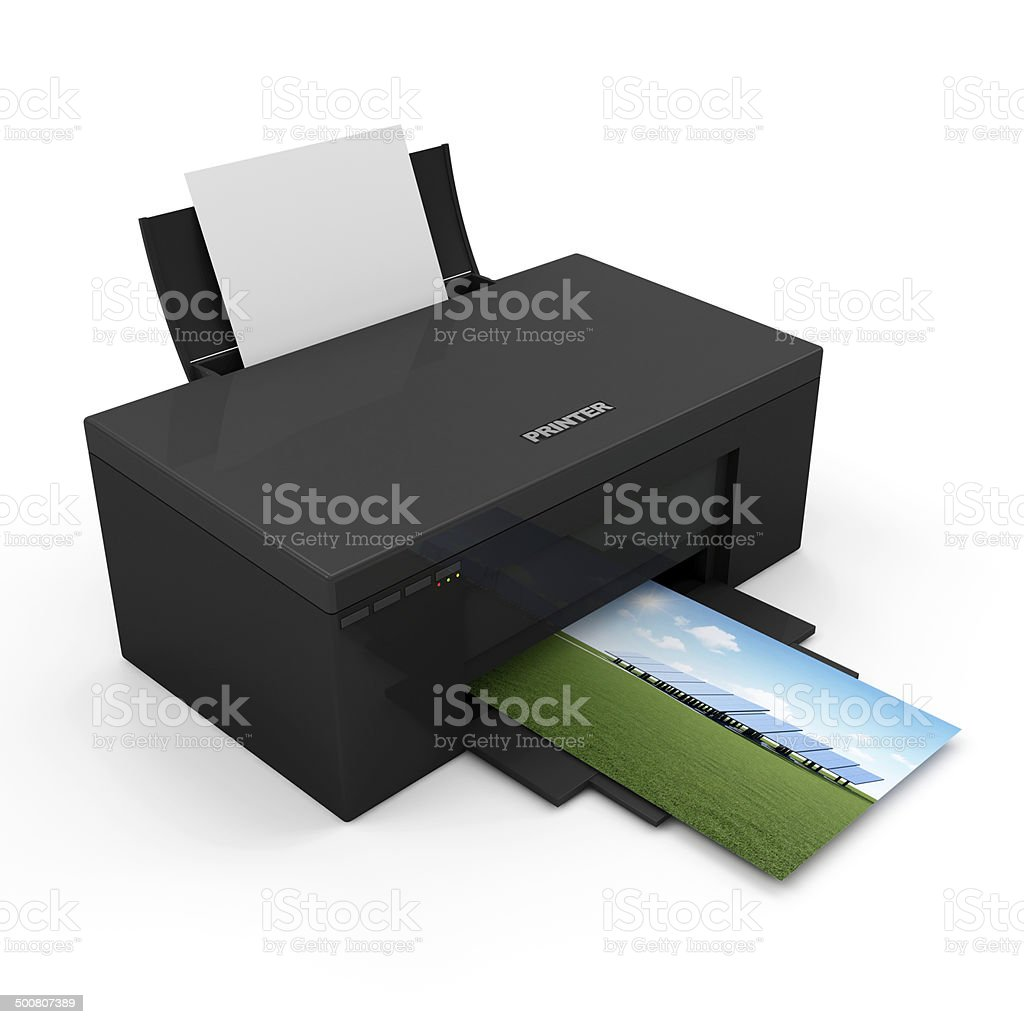 Modern Printer with Blank Paper and Printing Photo stock photo
