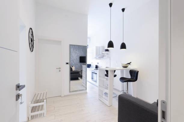 Modern private apartment living room interior stock photo