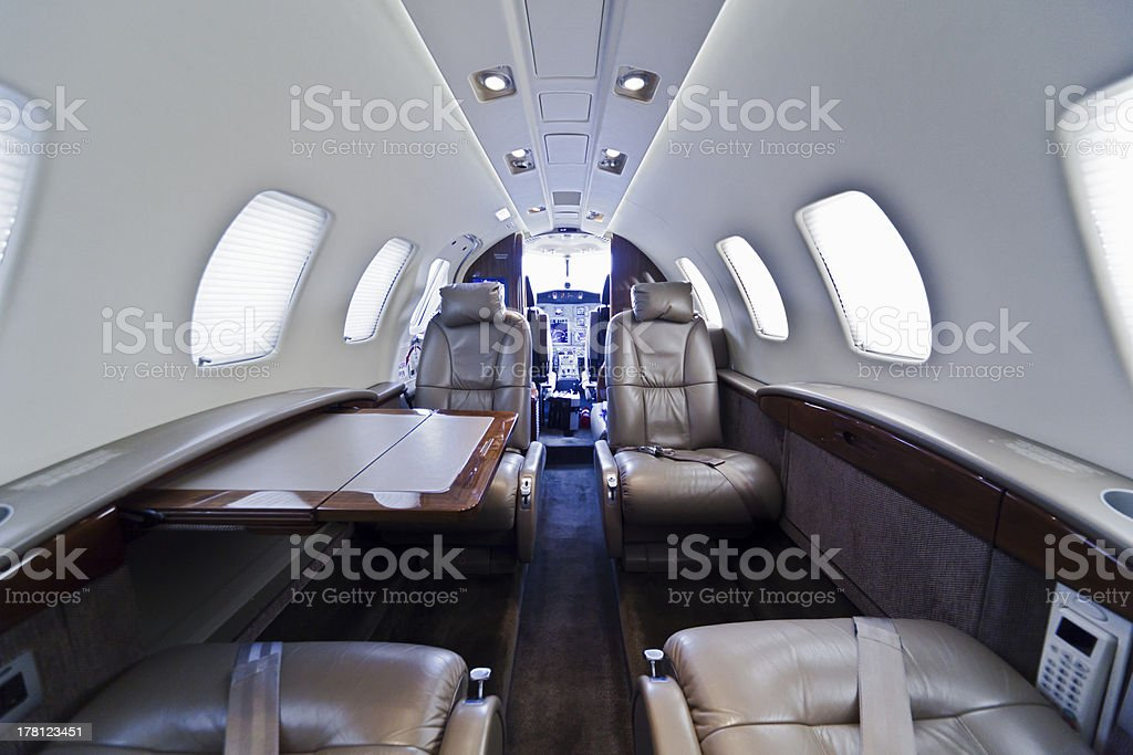 A modern private business jet interior stock photo