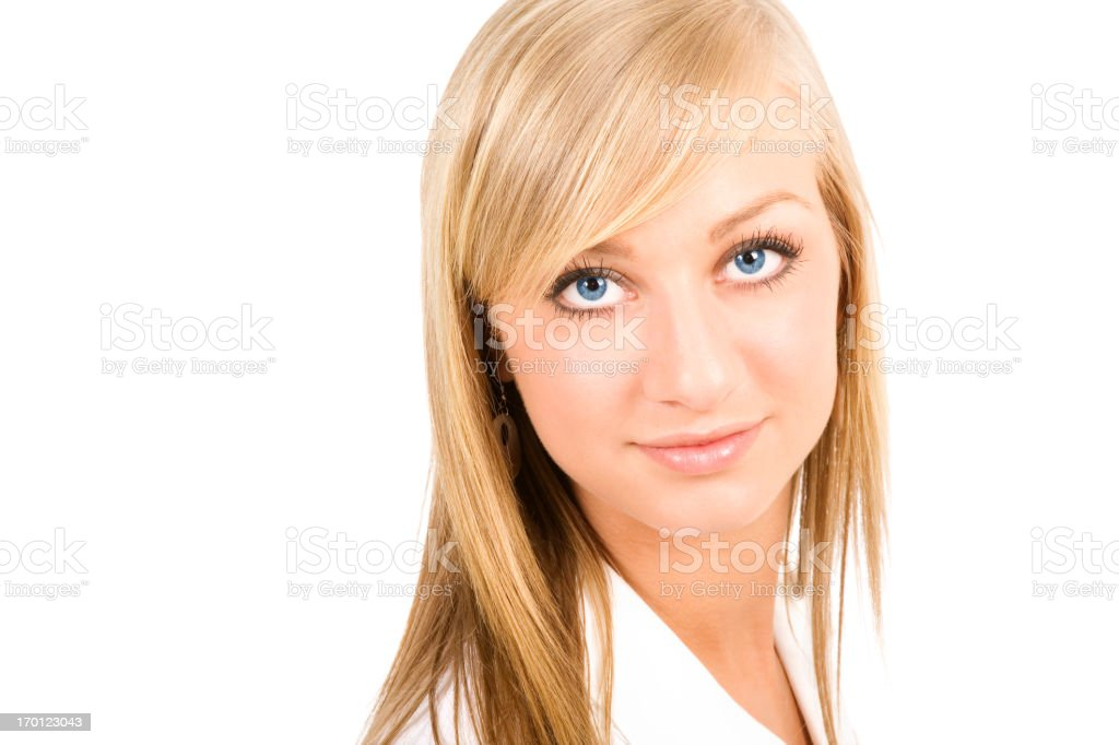 modern professional businesswoman perfect complexion skin face blue eyes isolated stock photo