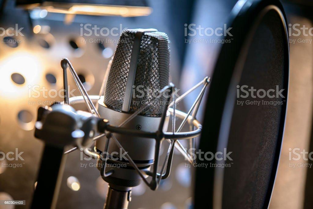 Modern professional microphone in recording studio stock photo