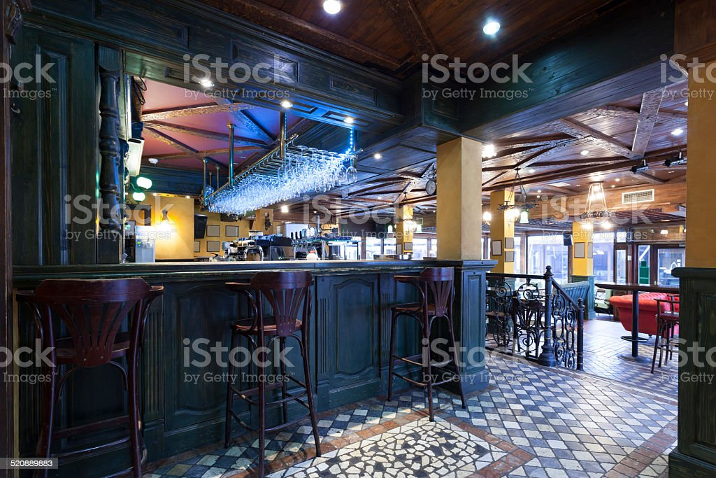 Modern pub interior stock photo