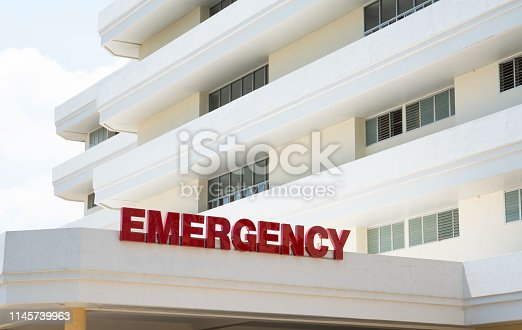 istock Modern public hospital white building , Emergency Room Entrance 1145739963