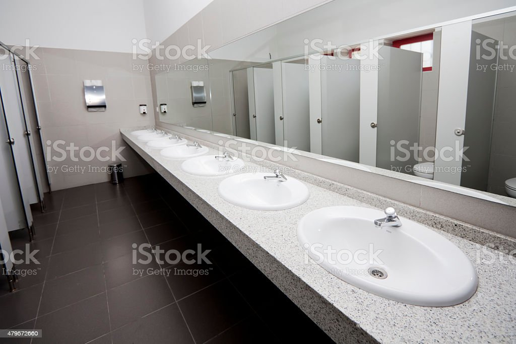 Modern public restroom. stock photo