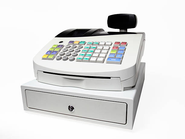 Modern Push button cash register isolated on white A modern cash register on a white background. cash register stock pictures, royalty-free photos & images