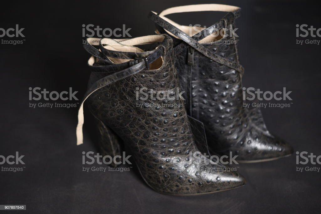 Modern python leather high heels boot stock photo