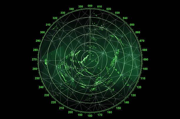 moderno schermo radar verde rotondo con mappa - radar foto e immagini stock