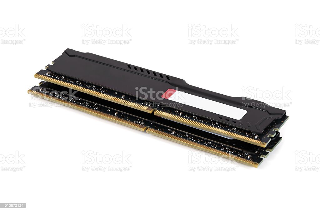 Modern RAM memory modules with black radiator stock photo