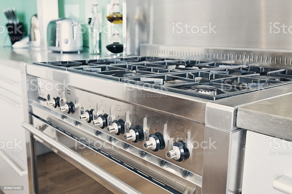 Modern Range Cooker in Kitchen stock photo