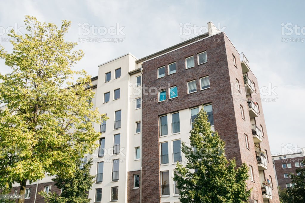 modern real estate picture of apartment house stock photo