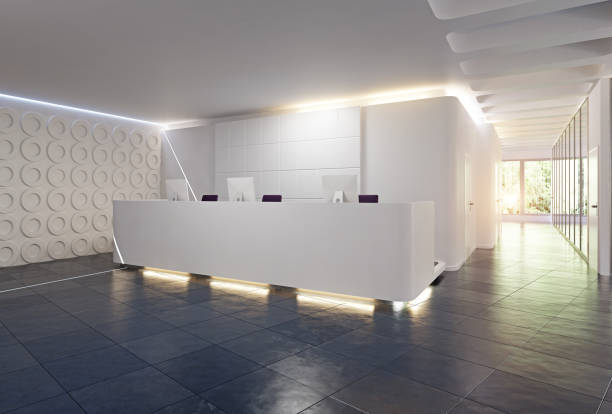 modern reception desk design. - clinica medica foto e immagini stock