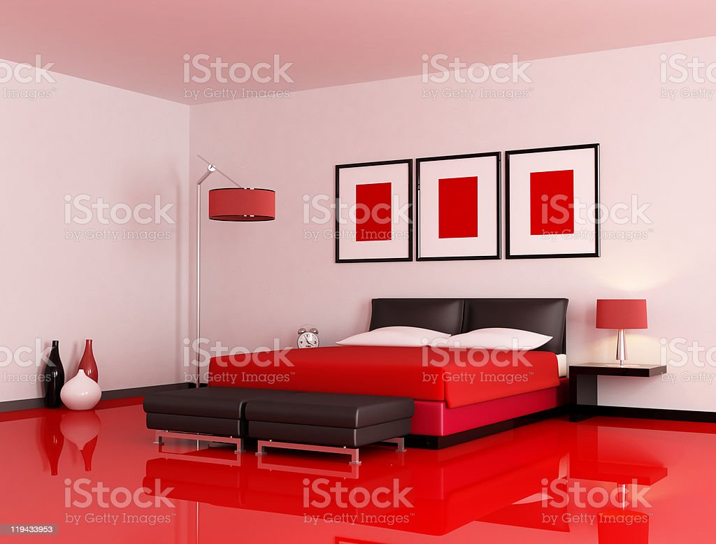 modern red and black bedroom royalty-free stock photo