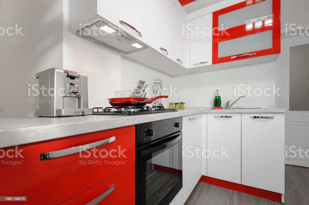 Modern Red And White Kitchen Interior Stock Photo Download Image Now Istock