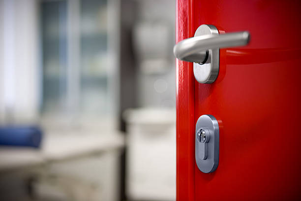 Modern red door stock photo