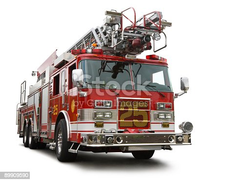 New red fire truck isolated with shadow. Has a precise clipping path. Fully retouched and cleaned up in Photoshop. Canon 5D.