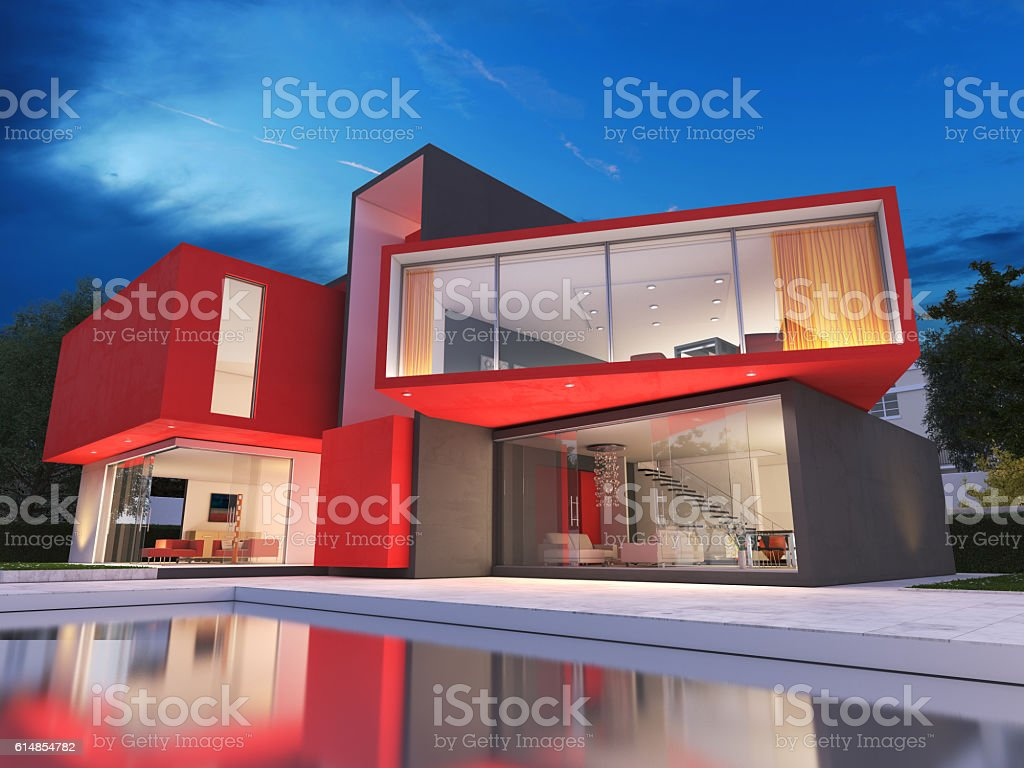 Modern red house - Royalty-free Architecture Stock Photo