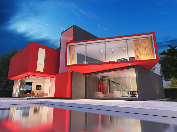 modern red house - architecture and buildings stock photos and pictures