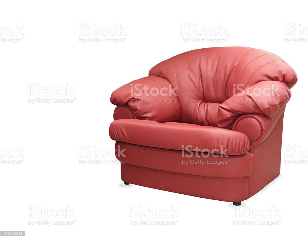 Modern Red Leather Chair Isolated On White Background Royalty Free Stock  Photo