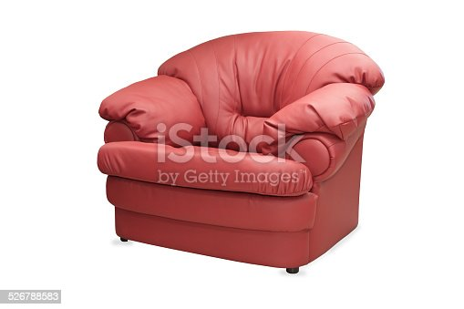 modern red leather chair isolated on white background