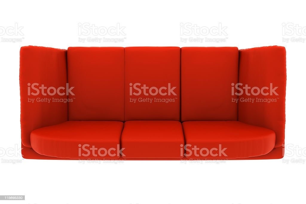 Modern Red Leather Couch Isolated On White Background Top ...