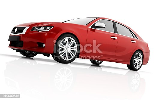 istock Modern red metallic sedan car in spotlight. Generic desing, brandless. 910009816