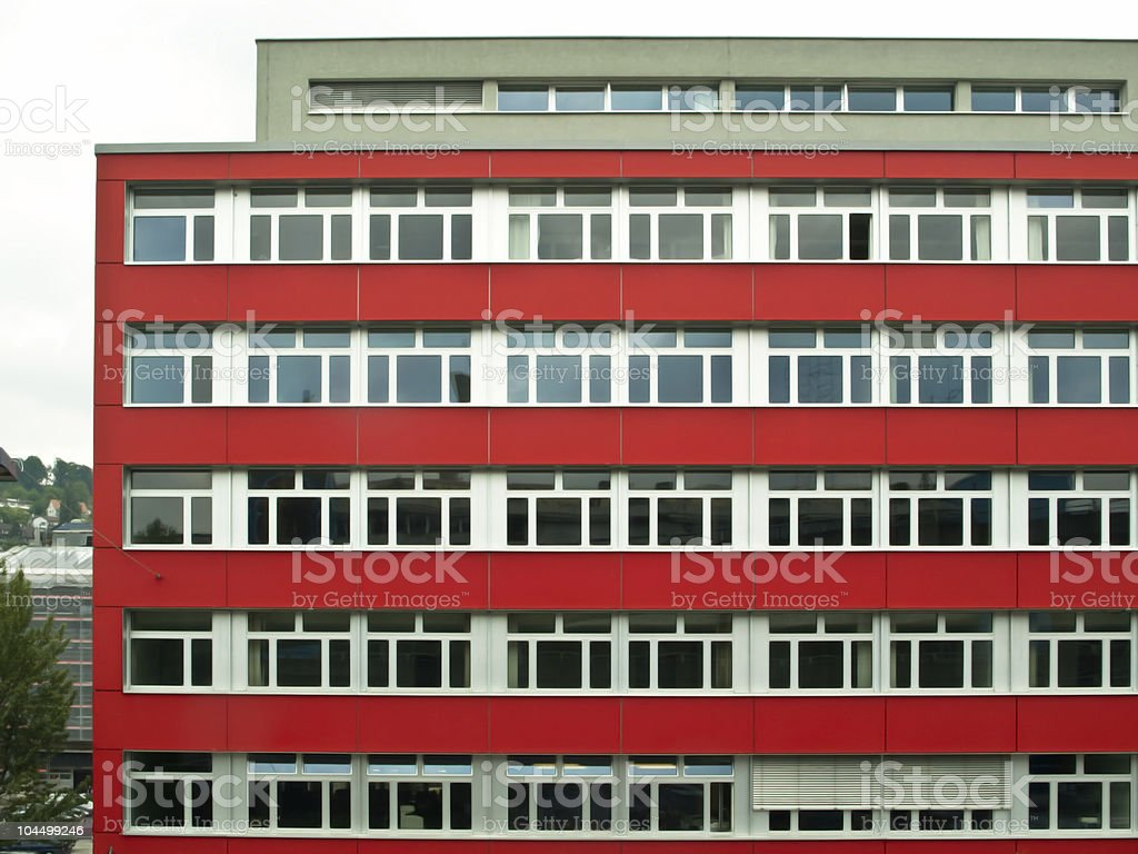 Modern red office building stock photo