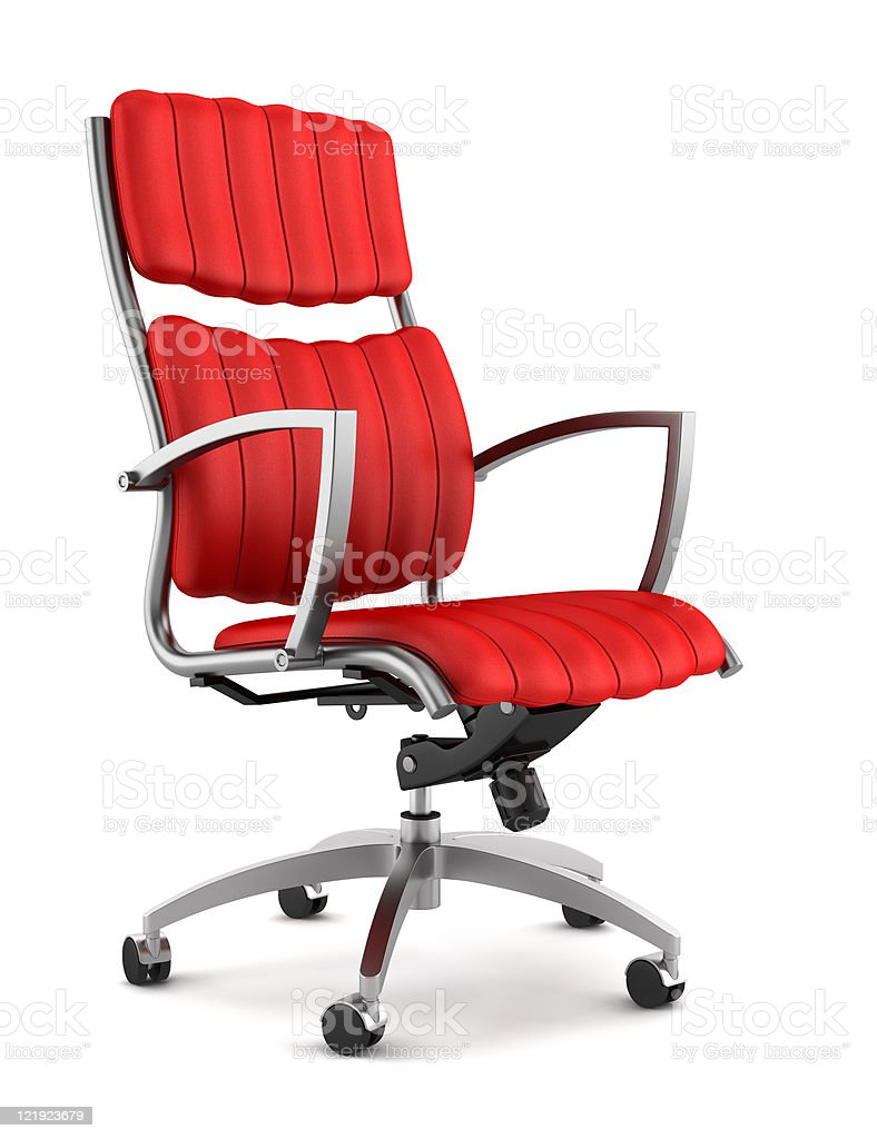 modern red office chair isolated on white background stock photo
