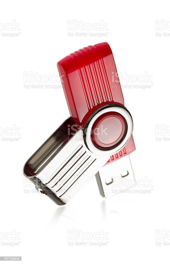 modern red plastic usb stick closeup isolated stock photo