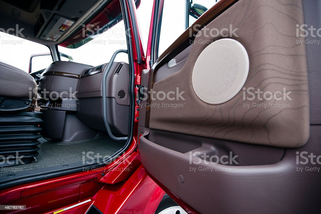 Modern red semi truck brown interior gorgeous place to work stock photo