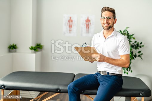 istock A Modern rehabilitation physiotherapy man at work 1074230704
