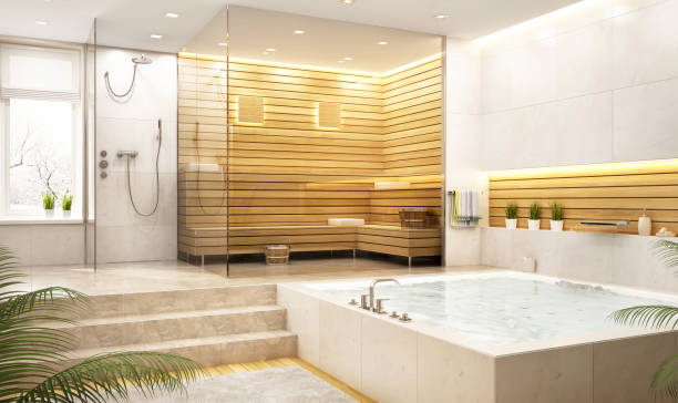 modern relaxation room and sauna in a large house - sauna foto e immagini stock