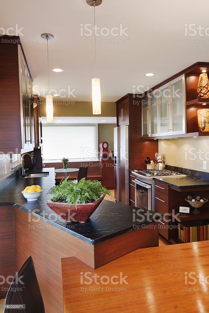 Modern Remodeled Kitchen and Dinning Room Vt royalty-free stock photo