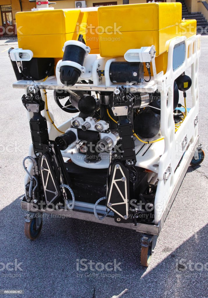 Modern remotely operated underwater vehicle , ROV royalty-free stock photo