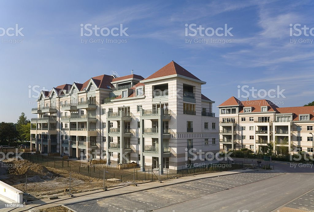 """Modern residential apartment complex """"Site with brand new contemporary apartment buildings.Location: Brussels, Belgium."""" Apartment Stock Photo"""