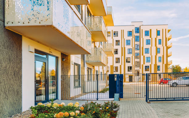 EU Modern residential apartment house building and entrance gate stock photo