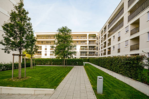 Modern residential buildings, apartments in a new urban housing Modern residential buildings, apartments in a new urban housing gated community stock pictures, royalty-free photos & images