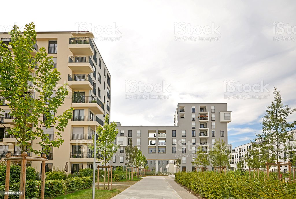 Modern residential buildings, Facade of a new low-energy houses stock photo