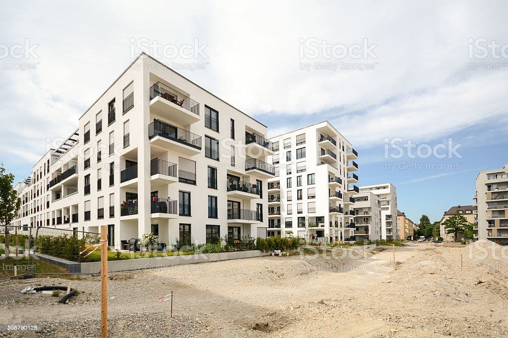 Modern residential buildings, Facade of new apartment houses stock photo
