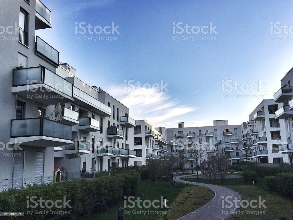 Modern residential buildings, Facade of new low-energy house stock photo
