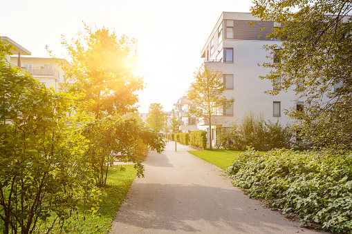 Modern residential buildings with new apartments in a green residential area