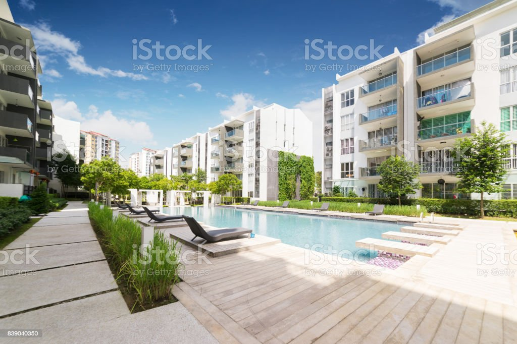 Modern residential buildings with outdoor facilities, Facade of new low-energy houses . stock photo