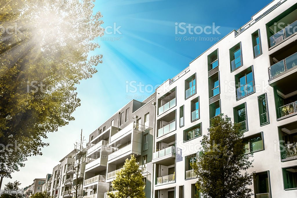 modern residential houses in berlin stock photo